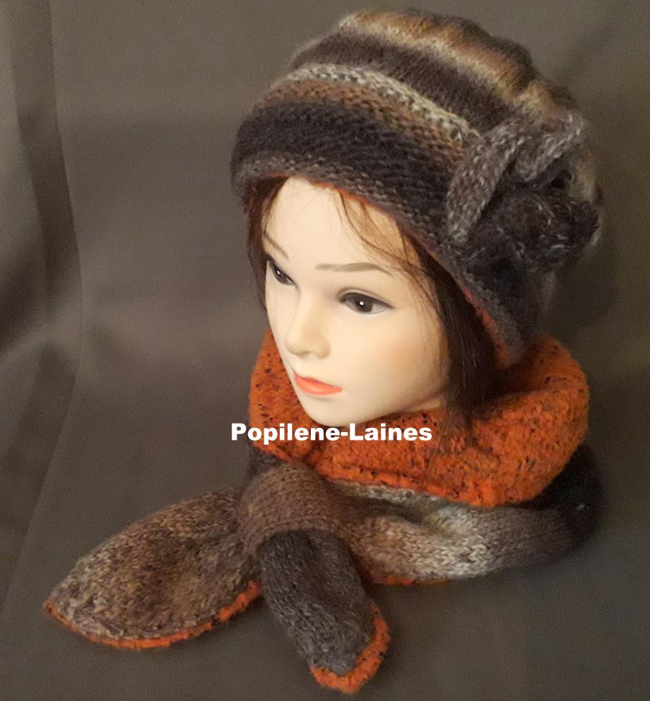 Ensemble bonnet et écharpe doublée Le bonnet est tricoté au point de godron et jersey, il est doublé sur la hauteur du point godron. L'écharpe doublée est un tour de cou Marque Yarns, qualité Sultan : 30% laine, 70% dralon