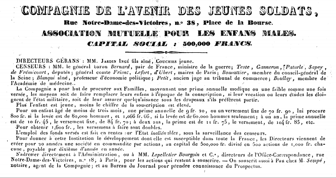 assurance contre conscription Mémorial des Pyrénées 1832.PNG