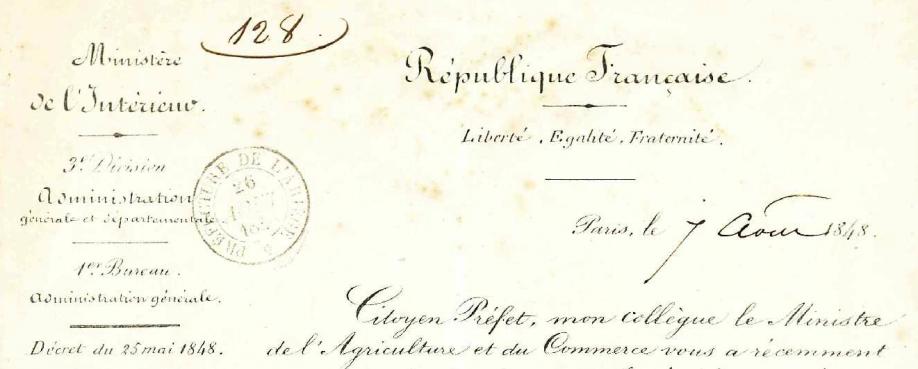 Enquête 1848 lettre au citoyen préfet 1 recadrée.PNG