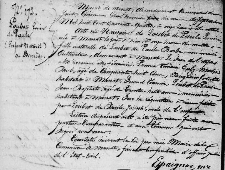 ° Louise Loubet de Paule 1-9-1844 Massat.PNG