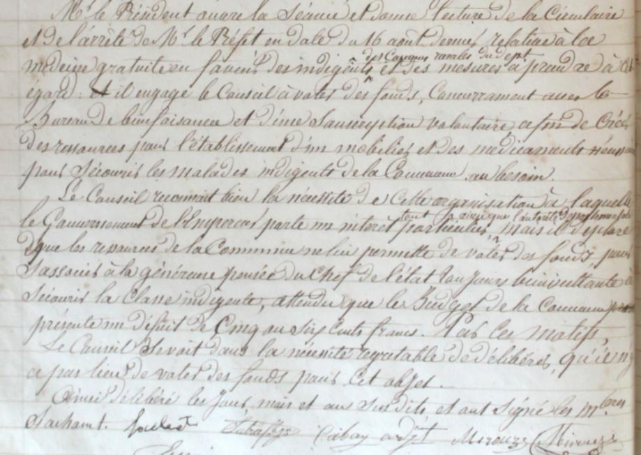 médecine des pauvres à Massat à verifier délib CM 1855.PNG
