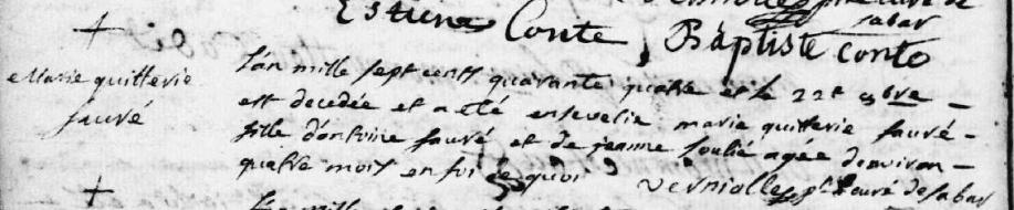 Tarascon paroisse ste Quitterie décès Marie Quitterie 1744.PNG
