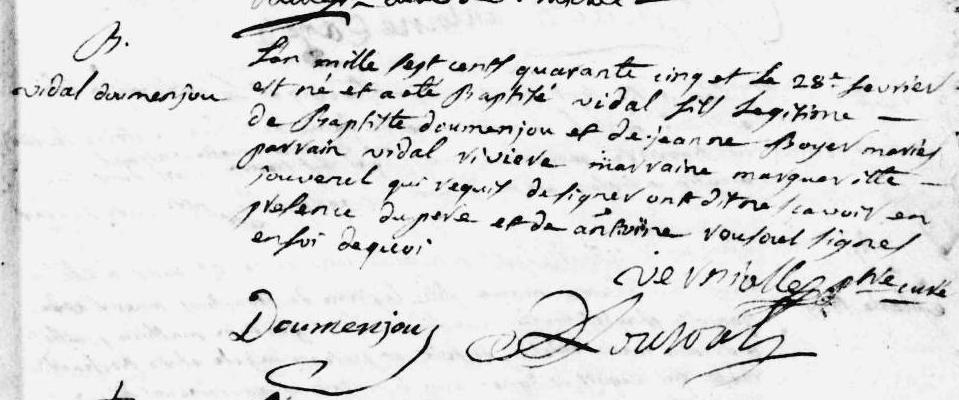 Tarascon paroisse ste Quitterie un Vidal 1745.PNG