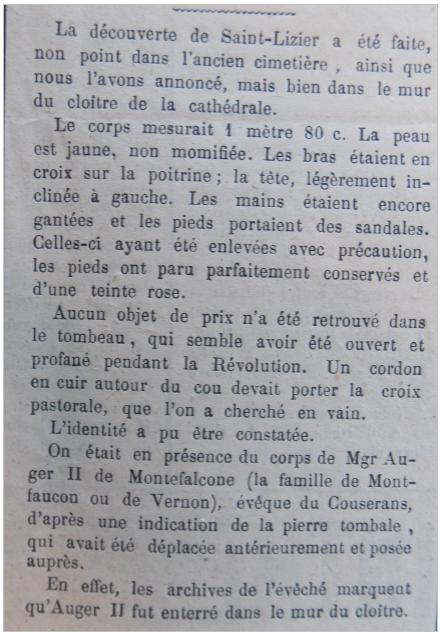 S comme Saint-Lizier, l'évêque repose dans le mur ! - aujols-Laffont