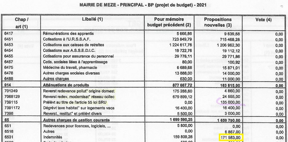 Budget 2021 (Principal) indemnites d\\\'élus