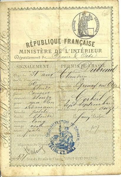 Un permis de chasse ancien.
