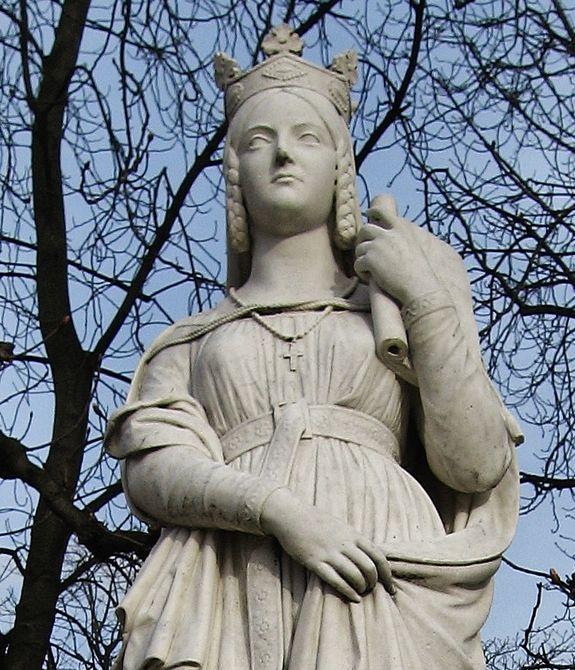 Détail de la statue de Ste Bathilde dans les jardins du Palais du Luxembourg (Paris).jpg