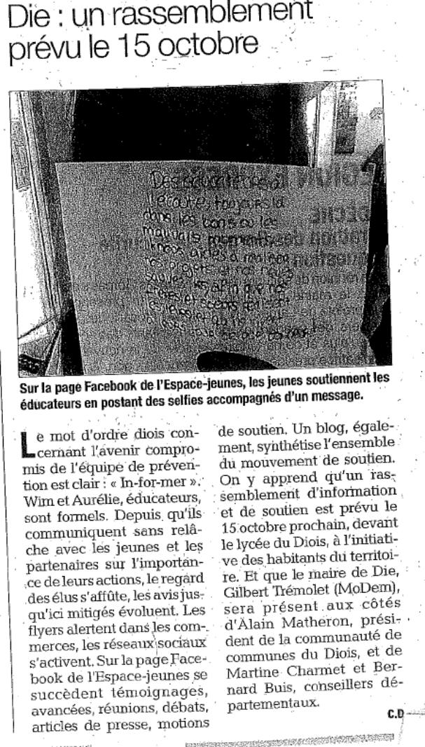 Article Dauphiné Libéré 09-10-15 Die.png