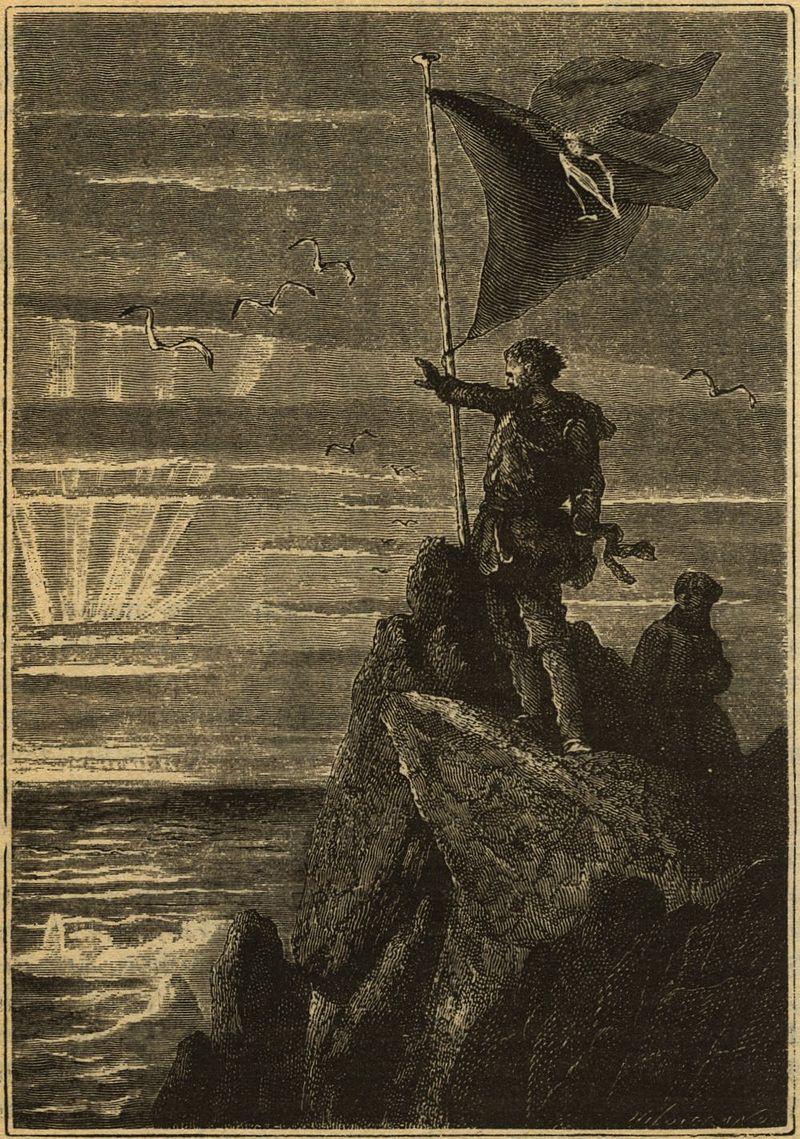 Le capitaine Nemo hisse son pavillon personnel sur le Pôle Sud dans la version Hetzel de Vingt mille lieues sous les mers..jpg