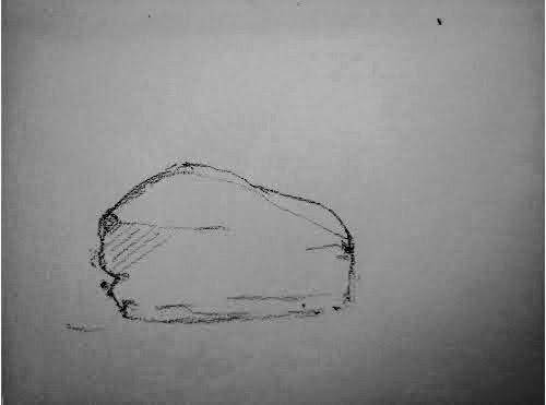 Dessiner légèrement le contour extérieur de la pierre