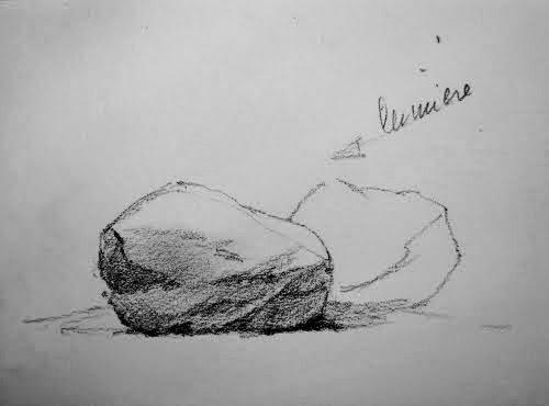 Rajouter une pierre en procédant de la même manière: d'abord un contour léger, puis...