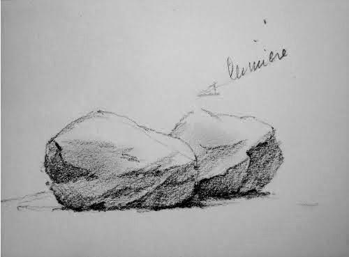 Avec un crayon progressivement plus gras, revenir dans la zone ombrée pour y marquer plus fortement creux et fissures...