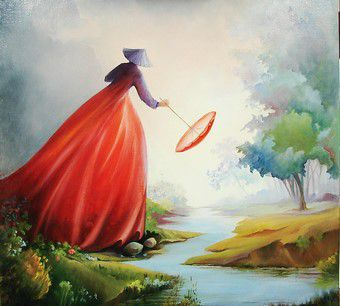 La robe rouge - huile - 50/50 cm