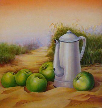Les pommes vertes - Huile - 40/50 cm