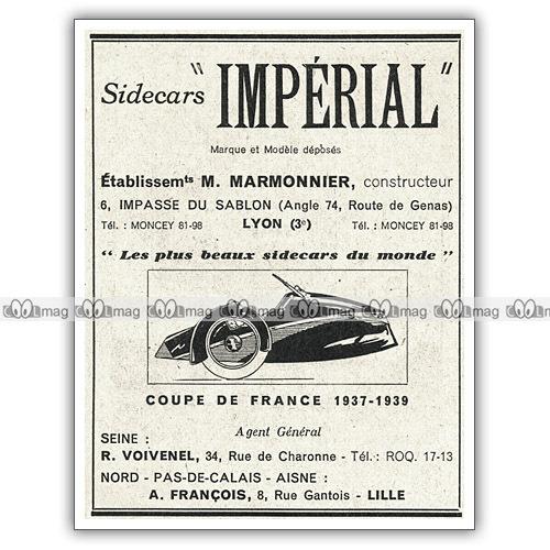 Pub marmonnier Les plus beaux side car du monde 1939.JPG
