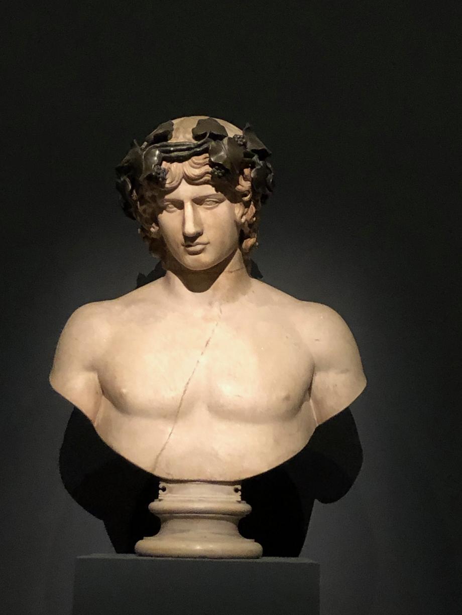Buste d'Antinoüs : un beau jeune homme Antinoüs était le favori de l'Empereur Hadrien Seule une partie de la tête est antique ; le haut du crâne, la couronne de bronze et le torse sont des ajouts modernes