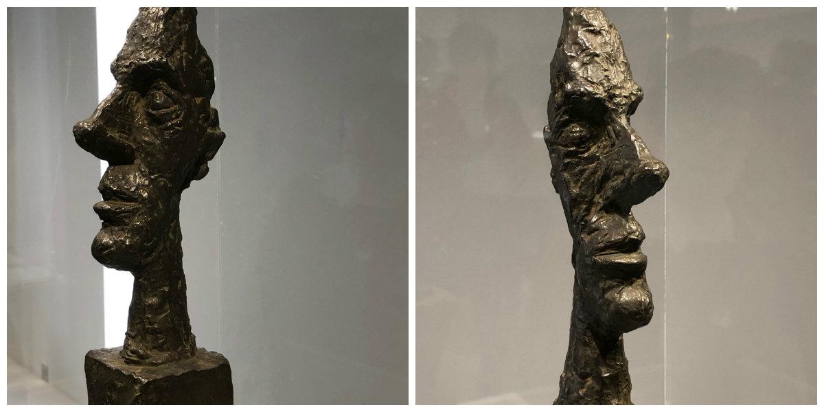 Tête sur socle (dite tête sans crâne) vers 1958 Il s'agit de la même sculpture vue des deux profils