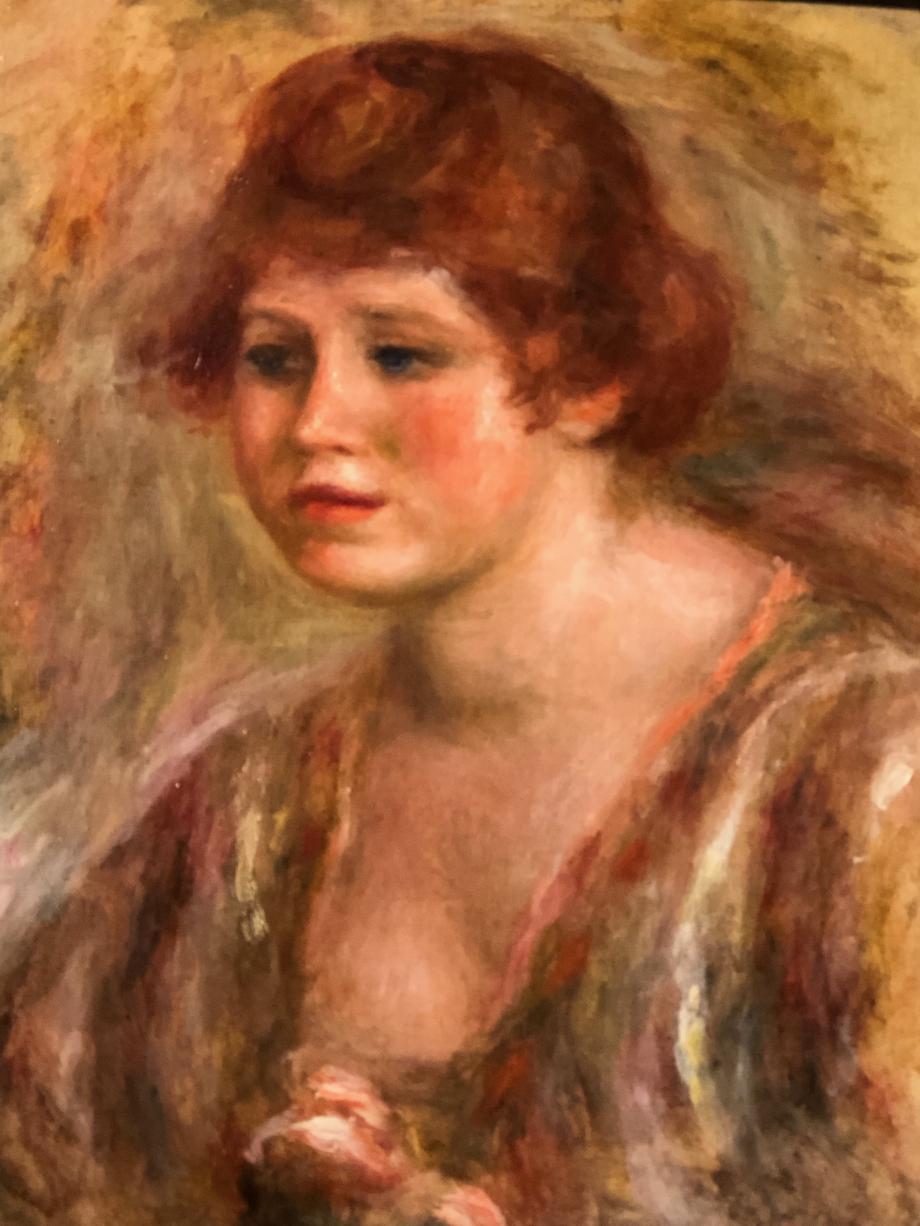Poerre Auguste Renoir - Jeune femme à la rose - entre 1918 et 1919 - Petit Palais Il s'agit d'Andrée Heu Shling modèle favori du peintre ; elle épouse son fils Jean et deviendra actrice sous le nom de Catherine Hessling