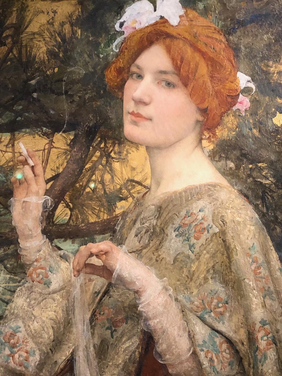 Edgard Maxence - Femme à l'orchidée - vers 1900 - Musée d'Orsay Il s'agirait du portrait de la femme ou de la petite fille du fabricant de papier à cigarettes, Job. Ce tableau a servi de modèle pour un calendrier de la marque.