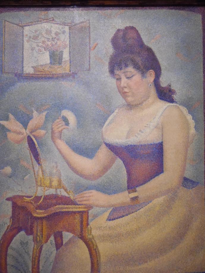 George Seurat Jeune femme se poudrant, vers 1888 1890 C'est l'unique portrait peint par Seurat