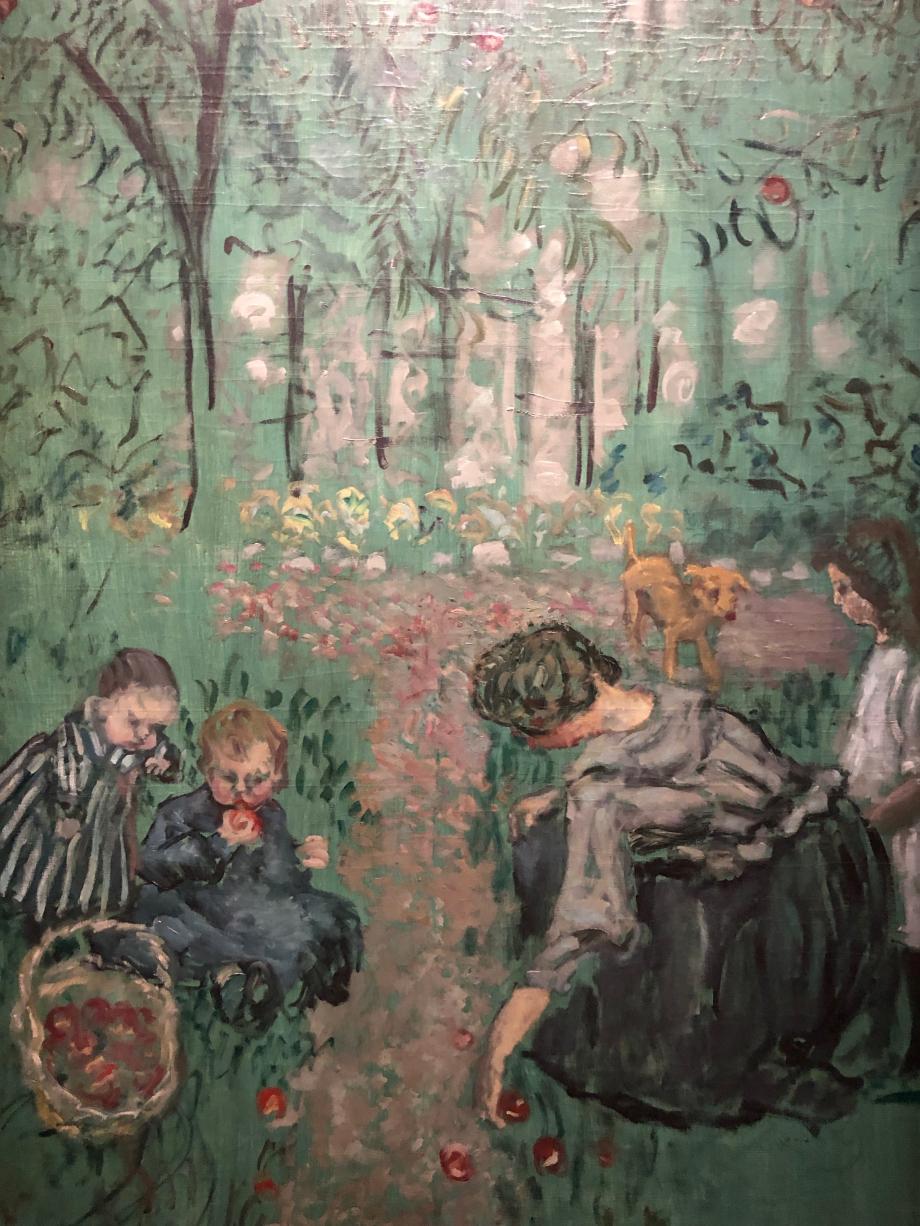 Pierre Bonnard - La Cueillette des pommes - vers 1895 Museum of fin arts, Richmond, Virginie, USA  Bonnard a réalisé plusieurs compositions monumentales sur le thème de la cueillette des pommes dans le verger de la maison familiale du Grand-Lemps dans le Dauphiné.