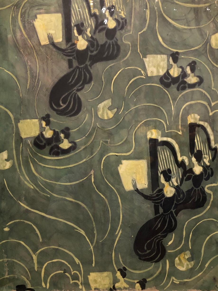 Projet de papier peint Maurice Denis Les Harpistes vers 1893 Collection particulière