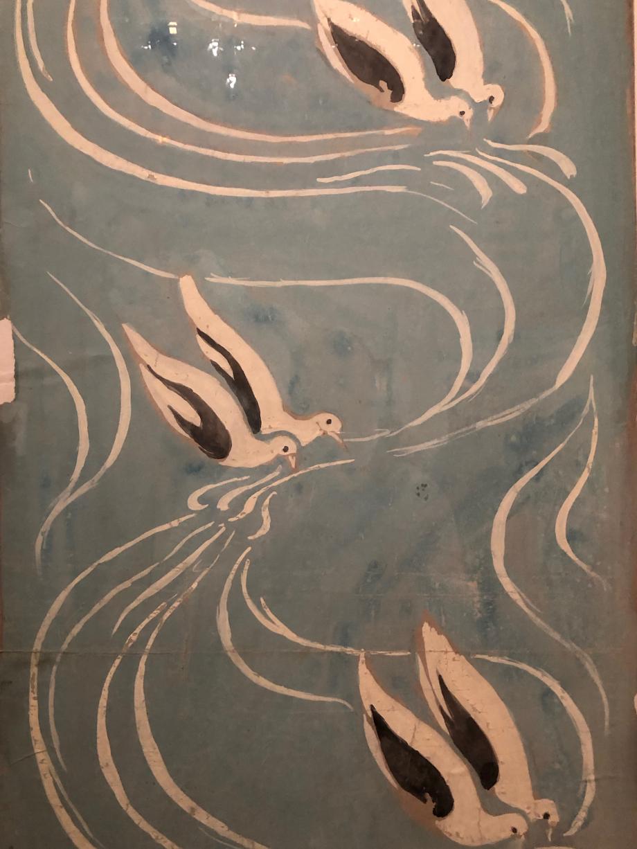 Projet de papier peint Maurice Denis Les Colombes vers 1893 Collection particulière