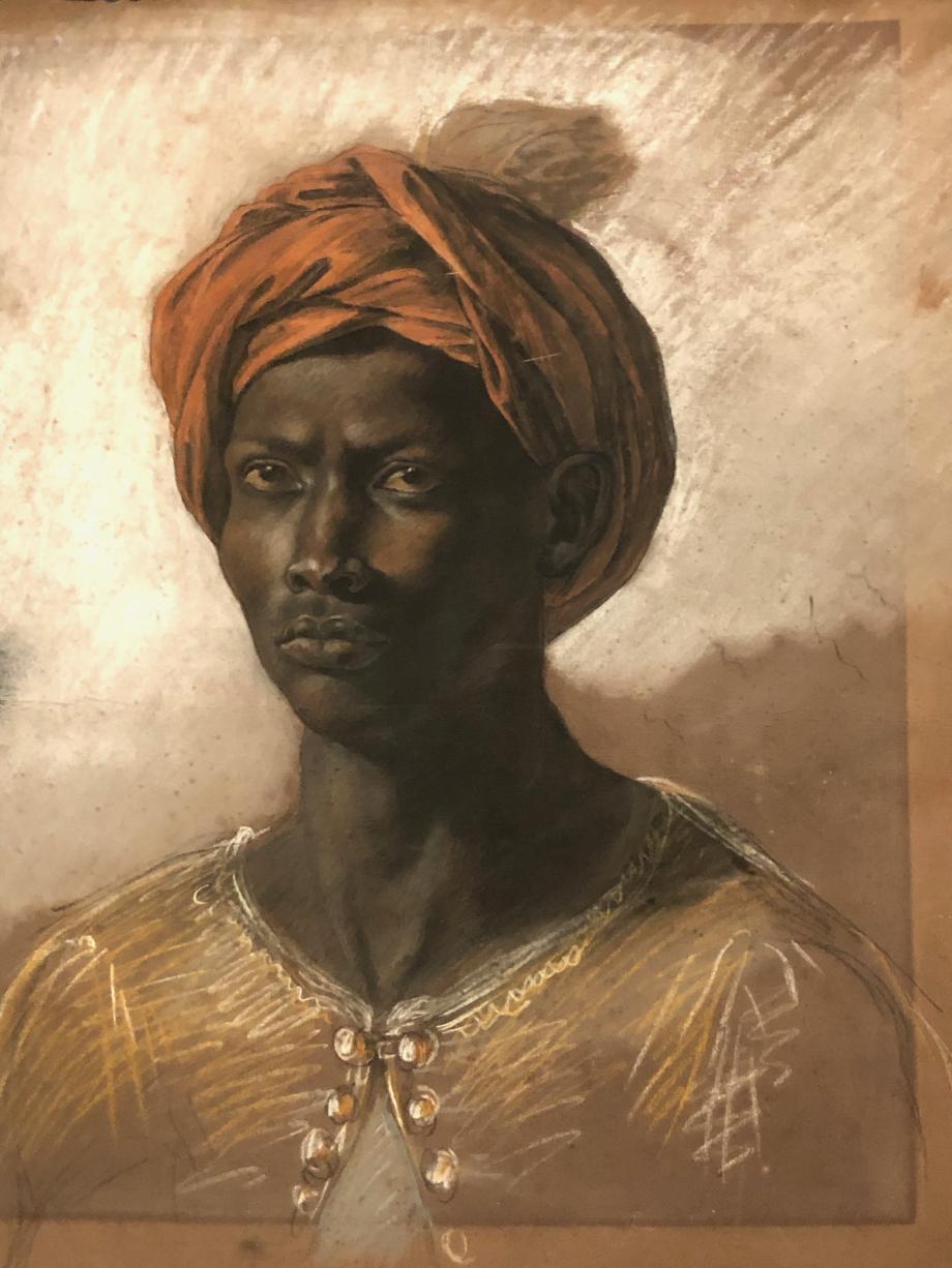 Eugène Delacroix Jeune homme vu en buste, la tête coiffée d'un turban rouge Musée du Louvre, Paris