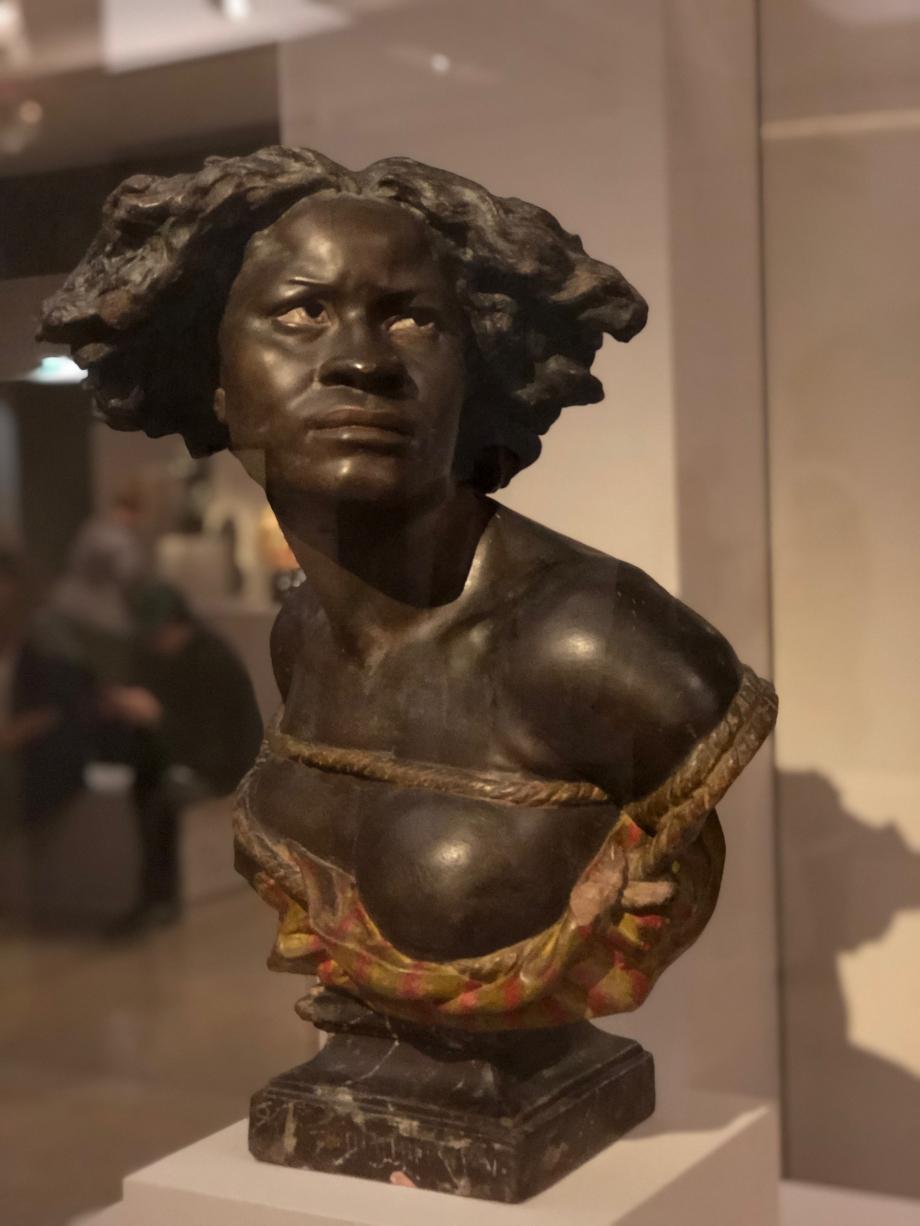 Jean-Baptiste Carpeaux Pourquoi naître esclave ? d'après le buste en marbre présenté au Salon de 1869 sous le titre Négresse Après 1875 Musée des Beaux-Arts, Reims