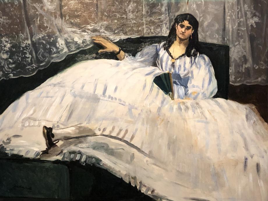 Edouard Manet Jeanne Duval dit aussi femme à l'éventail inscrit dans l'inventaire après décès de l'artiste sous le titre Maîtresse de Baudelaire couchée 1862 Museum of Fine Arts, Budapest