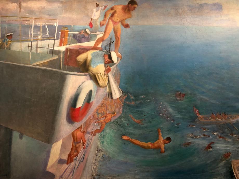 Alexeï Pakhomov Bain des marins de la Flotte rouge depuis le bord d'un navire Moscou, Galerie nationale Tretiakov