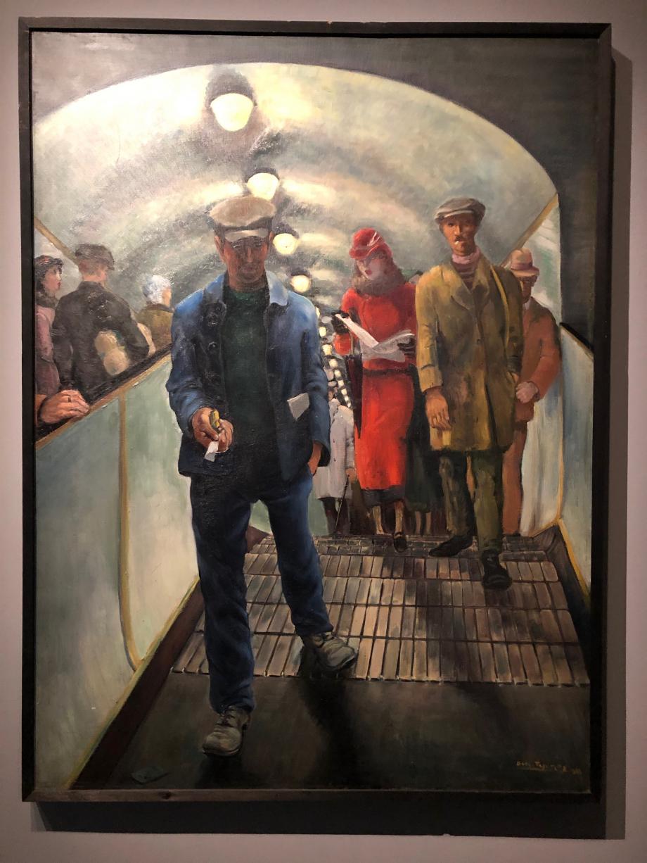 Boris Taslitzky Escalator dans le métro parisien Moscou,  maison d'état des beaux-arts Pouchkine