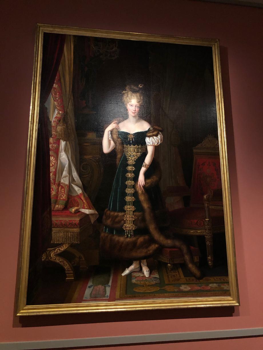 Alexandre-Jean Dubois-Drahonet Portrait de la Duchesse de Berry dans son grand salon du pavillon de Marsan 1828  Paris, musée des arts décoratifs
