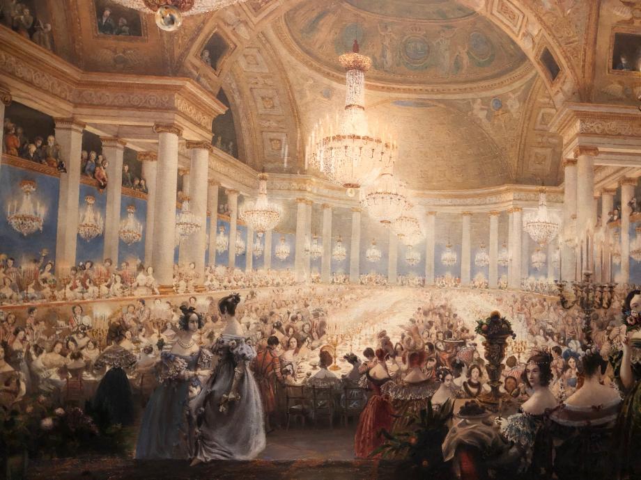 Eugène Viollet-Le-Duc Le banquet des dames dans la salle de spectacles des Tuileries (Bal de 1835)  Sous Louis-Philippe, 4 grands bals étaient organisés au palais des Tuileries chaque hiver. Comptant environ 3000 invités, ils étaient animés par 3 orchestres, répartis dans tous les salons du premier étage. Vers minuit, un souper était offert aux dames dans le théâtre du palais transformé en une immense salle de festin.  Paris, Musée d'Orsay