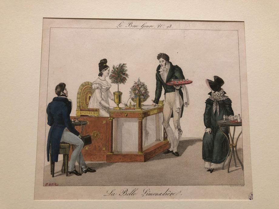 La Belle Limonadière - 1817 Le Café des Mille Colonnes, dans la galerie Montpensier, avait acquis sous l'Empire et sous la Restauration, une renommée européenne due en grande partie à la beauté de la maîtresse de maison, Mme Romain dit