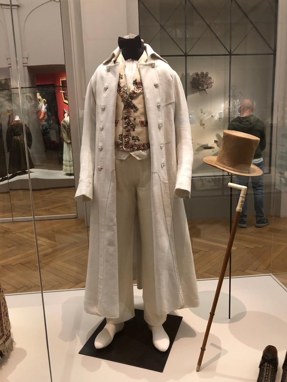 Redingote d'été vers 1820 Piqué de coton blanc, toile de lin blanche  Paris, Palais Galliera, musée de la mode de Paris