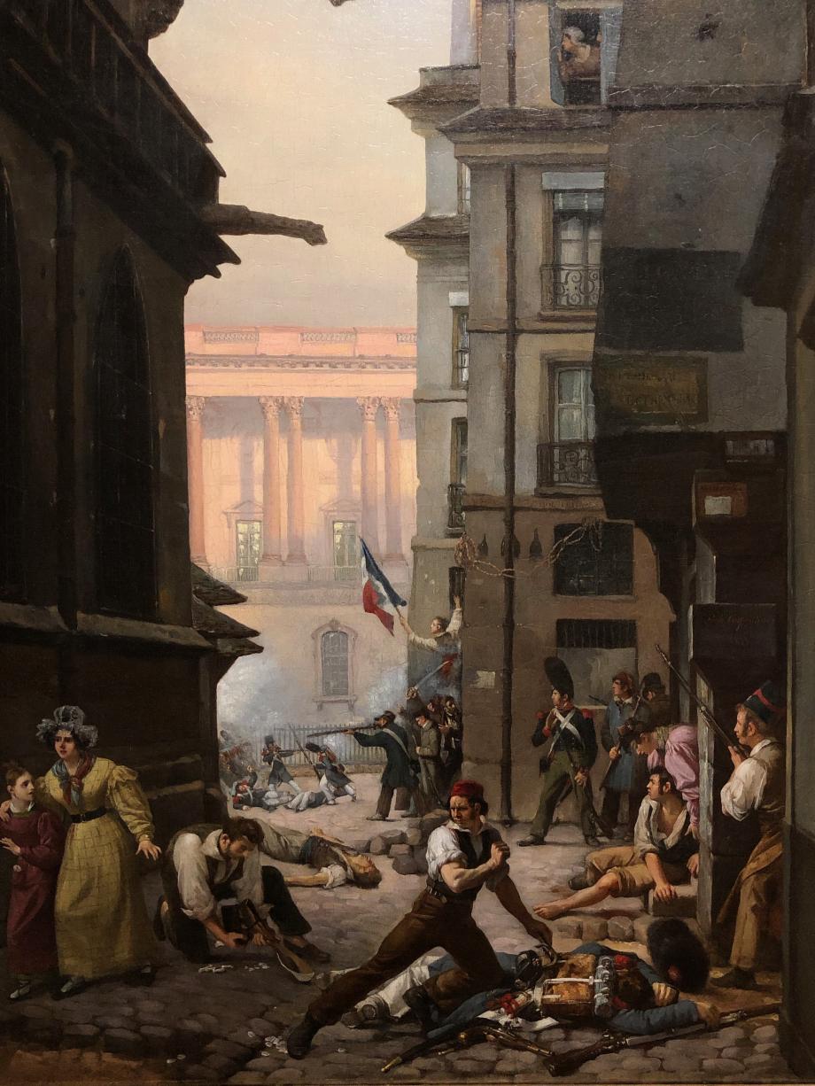 Paul Carpentier Episode du 29 juillet 1830 au matin  Salon de 1831 Des insurgés combattent les troupes royales près du Louvre dont on aperçoit la colonnade à l'arrière-plan.