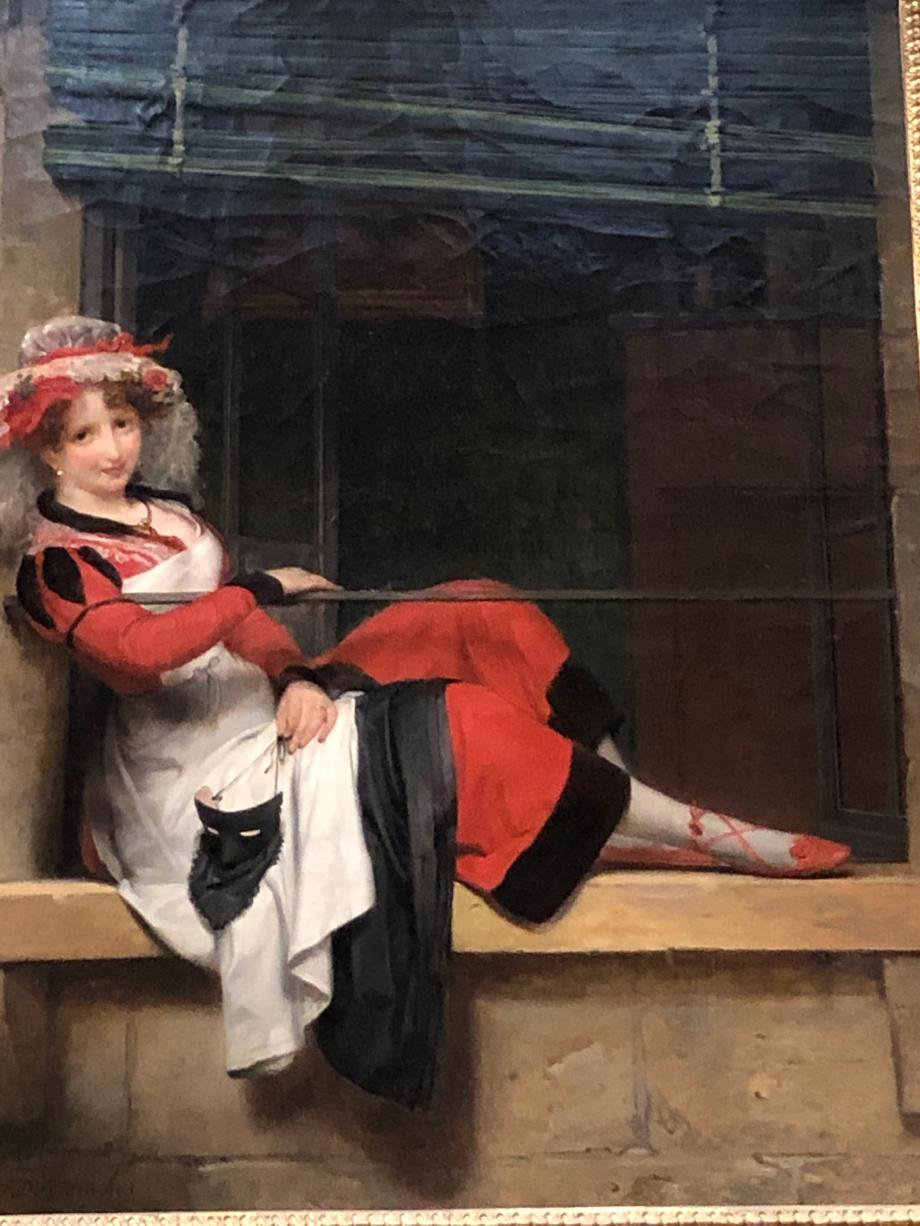 Paul-Emile Destouches L'attente du bal masqué - 1831 Une jeune femme en tenue de poissarde est assise sur une fenêtre en attendant l'heure du bal masqué. Sous la monarchie de Juillet, la tenue de poissarde était devenue un des déguisements favoris des bals masqués.  Mon tableau préféré de cette exposition avec le portrait du jeune homme qui suit  Nantes, Musée d'Arts