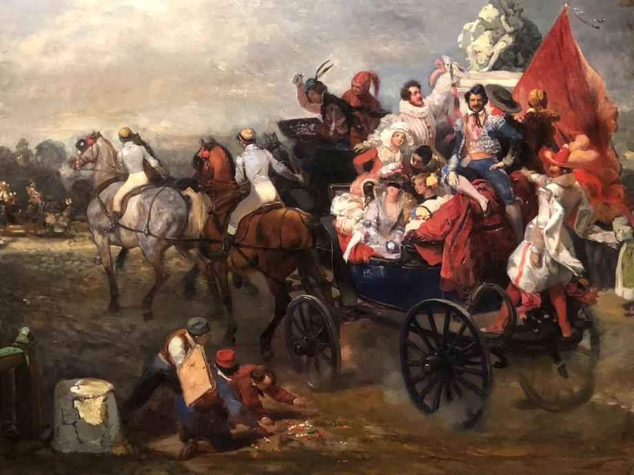 Eugène Lami Une voiture de masques, place de la Concorde - 1834  Paris, Musée Carnavalet-Histoire de Paris