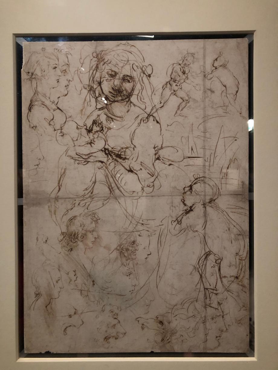 Léonard de Vinci Recto : Etudes pour une Vierge allaitant l'Enfant Jésus avec Saint Jean Baptiste, profils humains et profils d'animaux vers 1478 1480 Windsor Castle, The Royal Collection prêté par Sa Majesté la Reine Elisabeth II