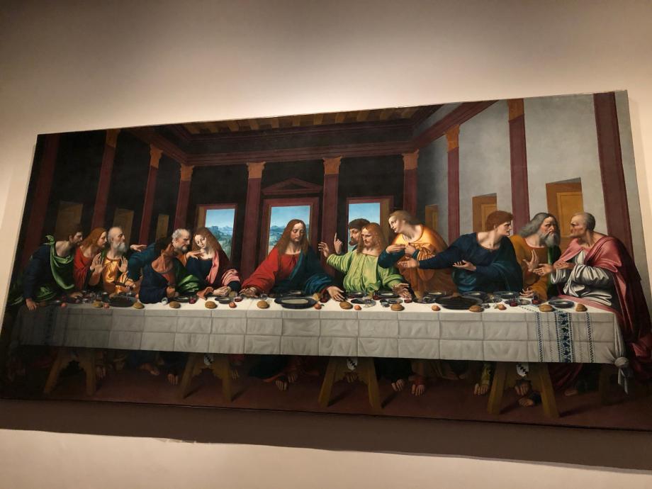 Marco d'Oggiono d'après Léonard de Vinci La Cène 1506 1509 Paris, Musée du Louvre  Cette copie de La Cène de Milan, réalisée par Marco d'Oggiono entre 1506 et 1509, du vivant de Léonard et alors qu'il résidait à Milan, en est le plus vénérable témoignage.