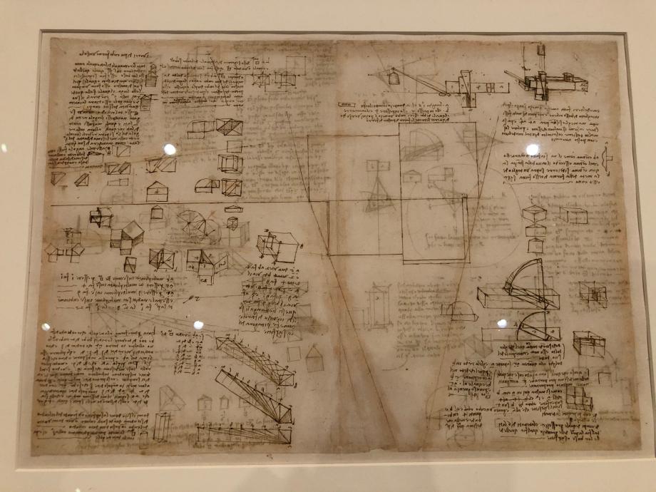 Léonard de Vinci Essais divers sur la duplication du cube Le théorème de Pythagore passé à la puissance 3 Essai de construction géométrique des racines carrées de 1 à 9 vers 1505 Milan, Biblioteca Ambrosiana, Codex Atlanticus