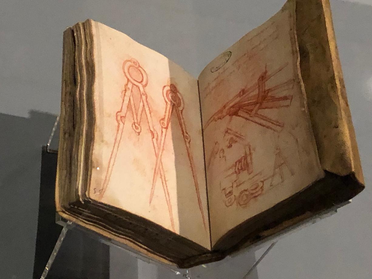 Léonard de Vinci Compas, dispositif et considération diverses vers 1493 1494 Paris, Institut de France