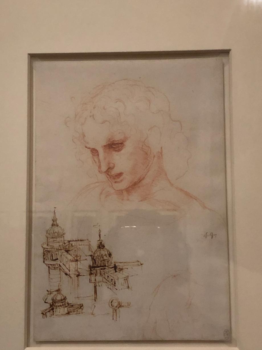 Léonard de Vinci Etude pour l'apôtre Jacques le Majeur, dans La Cène Etude architecturale vers 1494 1496 Windsor Castle, The Royal Collection, prêté par Sa Majesté la Reine Elizabeth II
