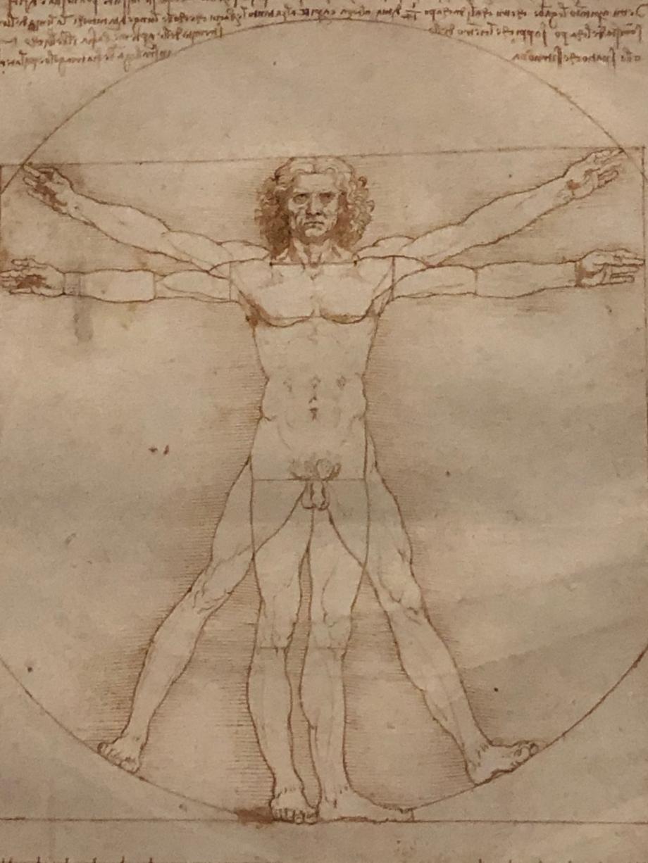 Célèbre représentation des proportions idéales parfaites du corps humain parfaitement inscrit dans un cercle (centre : le nombril) et un carré (centre : les organes génitaux) (symbolique du cercle et du carré), l'Homme de Vitruve est un symbole allégorique emblématique de l'Humanisme, de la Renaissance, du rationalisme, de « L'Homme au centre de tout / Homme au centre de l'Univers », de la mesure et de la représentation du monde. (source wikipédia)