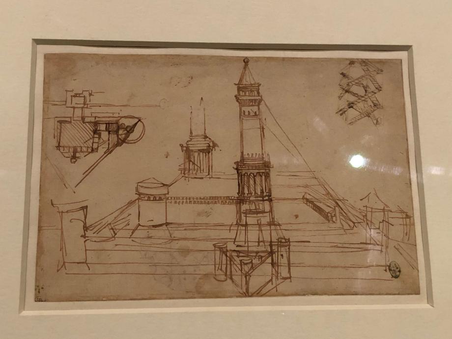 Léonard de Vinci Etude d'architecture. Fortifications. Escalier à multiple révolution 1483 1489 Paris, Musée du Louvre