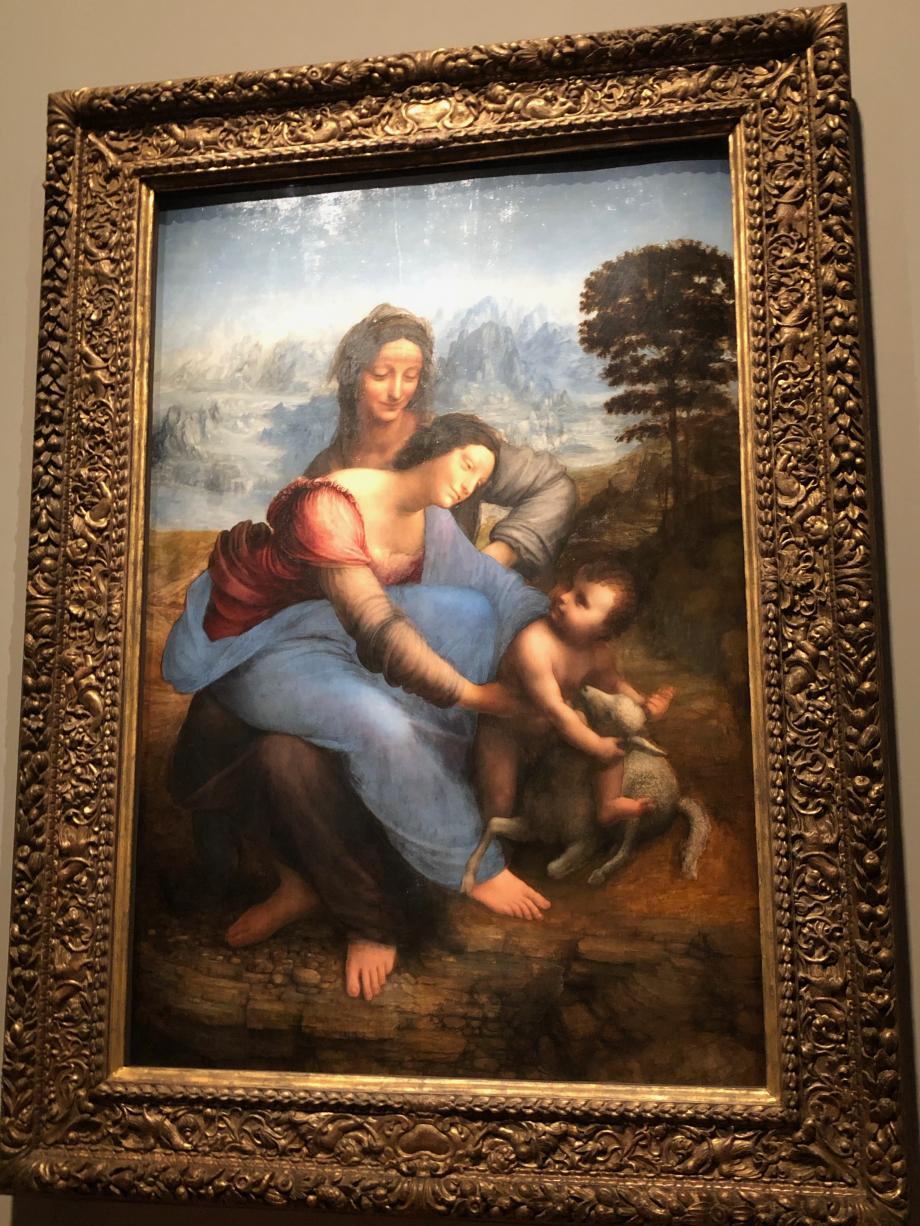 Léonard de Vinci Sainte Anne, la Vierge et l'Enfant Jésus jouant avec un agneau dite La Sainte Anne vers 1503 1519 Paris, Musée du Louvre