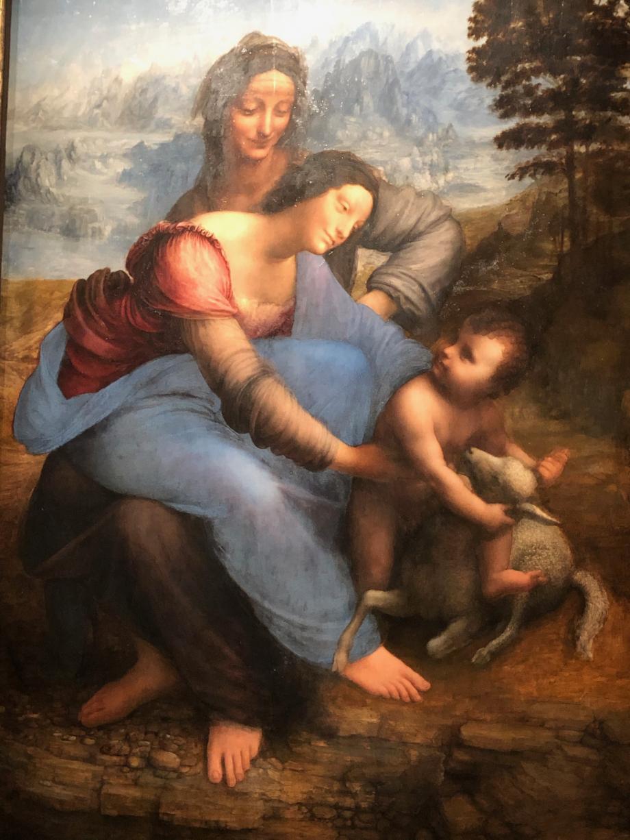 Commencée à la date d'octobre 1503, la Sainte Anne fut le fruit d'un processus de création sans fin, interrompu seulement par la mort. Léonard ne cessa de perfectionner l'attitude des figures, le détail de leur coiffure ou de leur vêtement