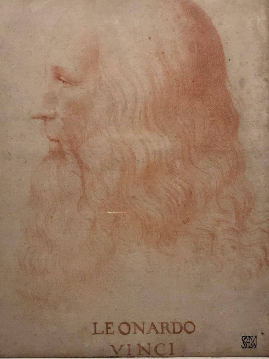 Francesco Melzi, le plus fidèle de ses disciples, était entré dans la vie de Léonard en 1508. Il le suivit en France, l'assista dans les derniers instants et reçut en héritage ses dessins et ses manuscrits. On lui attribue ce beau portrait à la sanguine. Léonard avait adopté l'apparence d'un philosophe de l'Antiquité, à l'imitation de Pythagore et Platon.