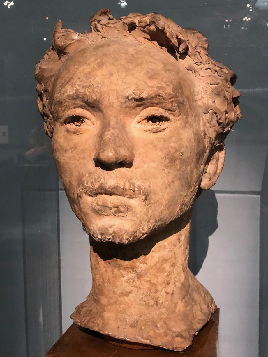 Buste de Francesco Paolo Michetti 1873 1874  Michetti et Gemito se sont rencontrés à l'Académie des Beaux-Arts de Naples. Gemito a moulé sur nature le visage de son camarade ; le masque lui servit de guide pour modeler le buste en terre.